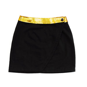 WINNING Wrap Skirt Black/Gold Sequins