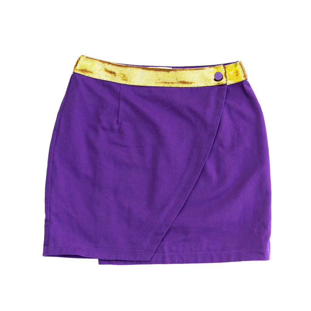 WINNING Wrap Skirt Purple/Gold Sequins