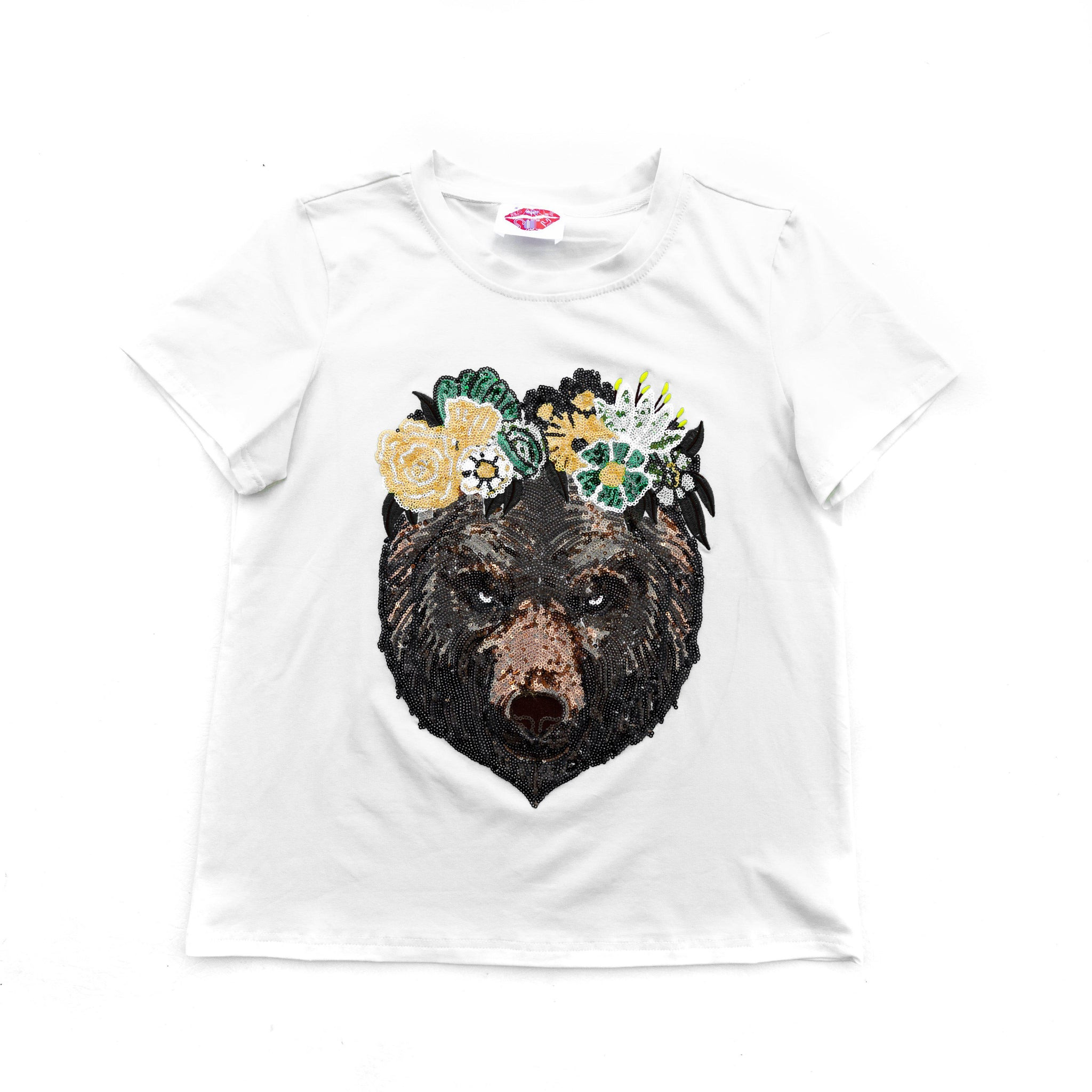 Flower Crown Bear Head Tee