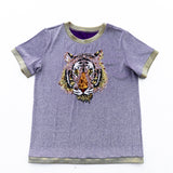 Glitter Tiger Head Two-Tone Tee