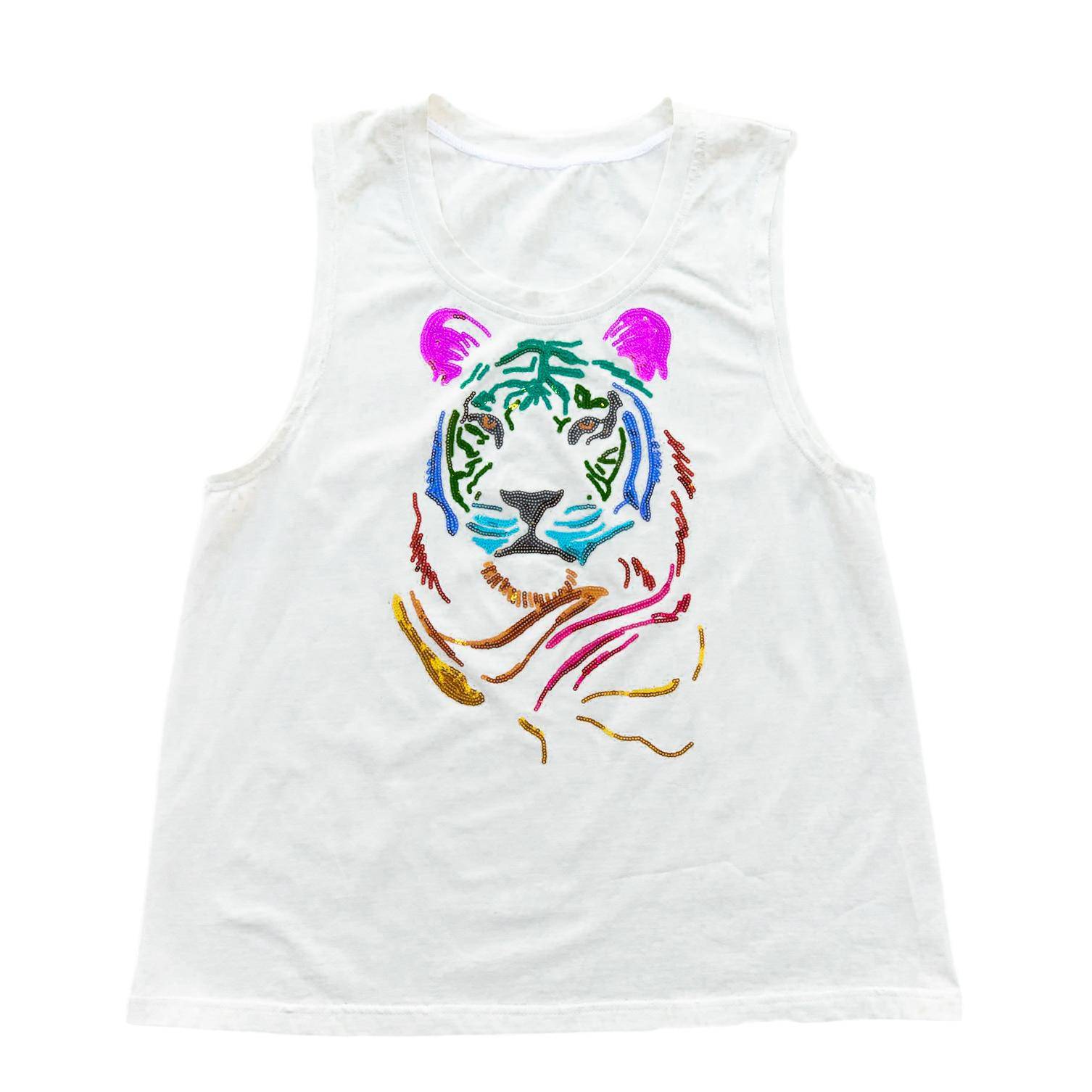 Multicolor Tiger Head Tank White