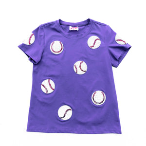 Fly Balls Purple Baseball Tee