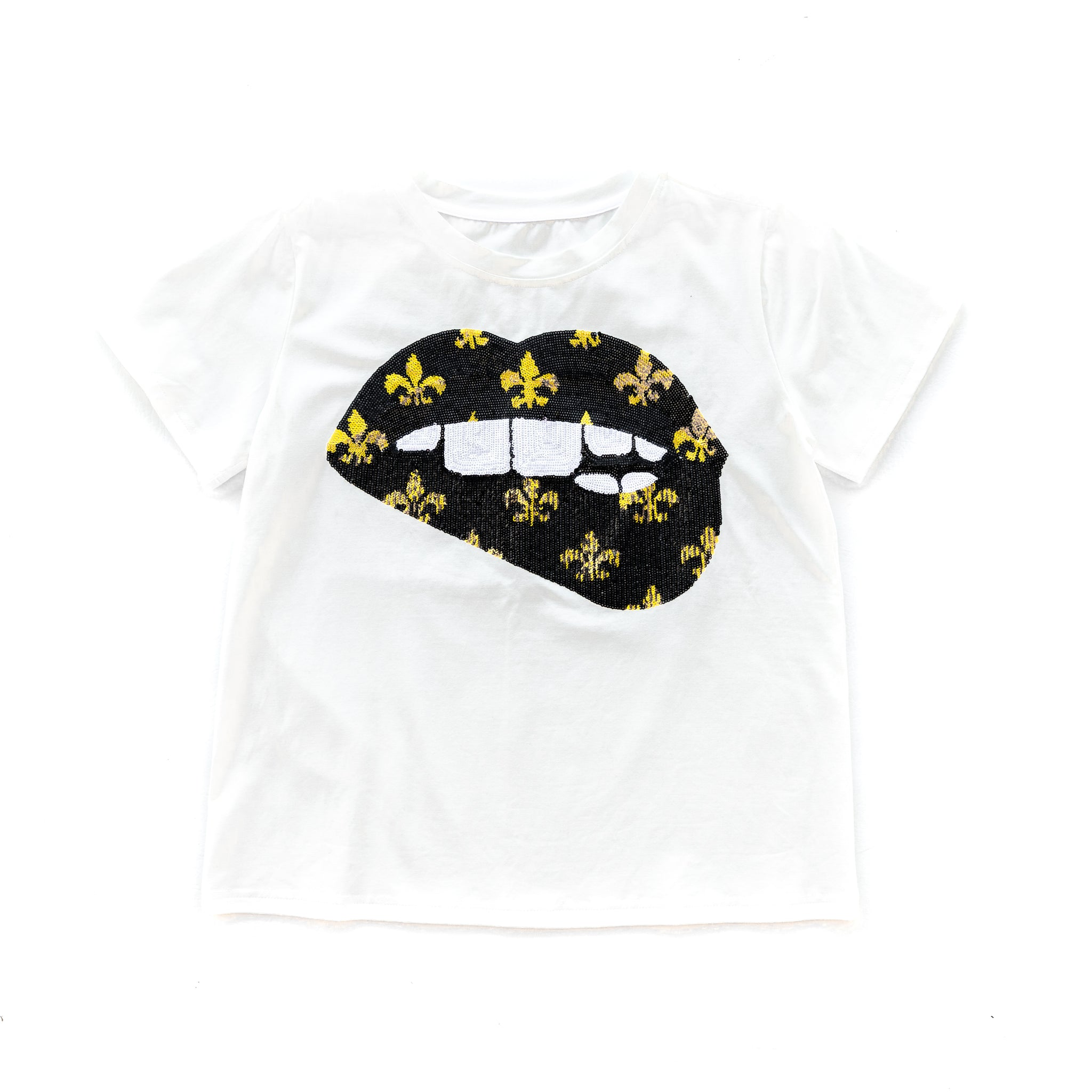 Gameday Grin SAINTS Black Fleur de Lis Lips Tee