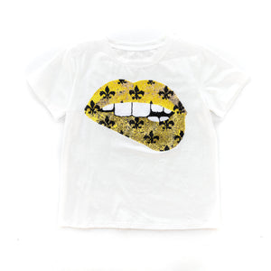 Gameday Grin Gold Fleur de Lis Lips Tee