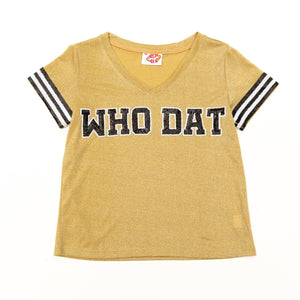 WHO DAT Gold Glitter Tee