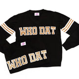 WHO DAT Black Jersey Sweater