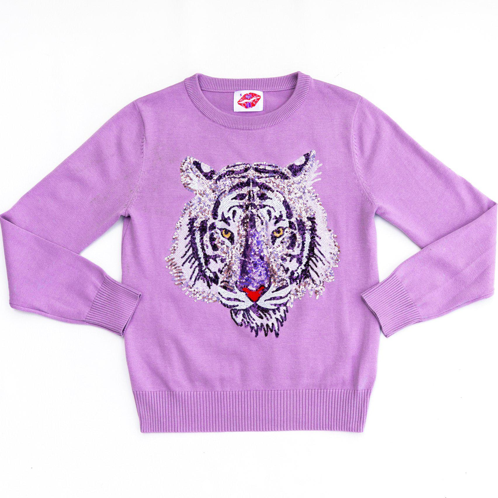 Mega Mike Purple Sequin Tiger Sweater Lavender