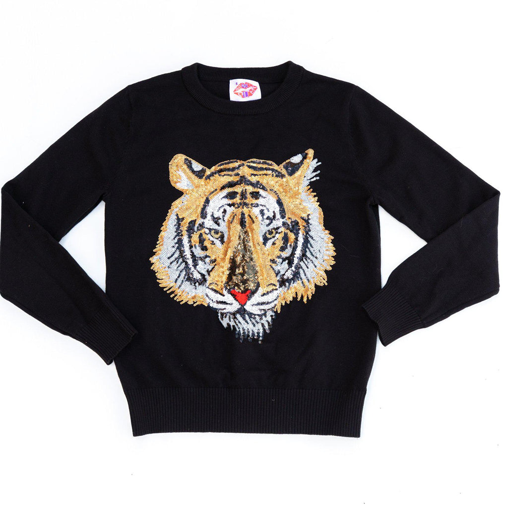 Mega Mike Sequin Tiger Sweater Black