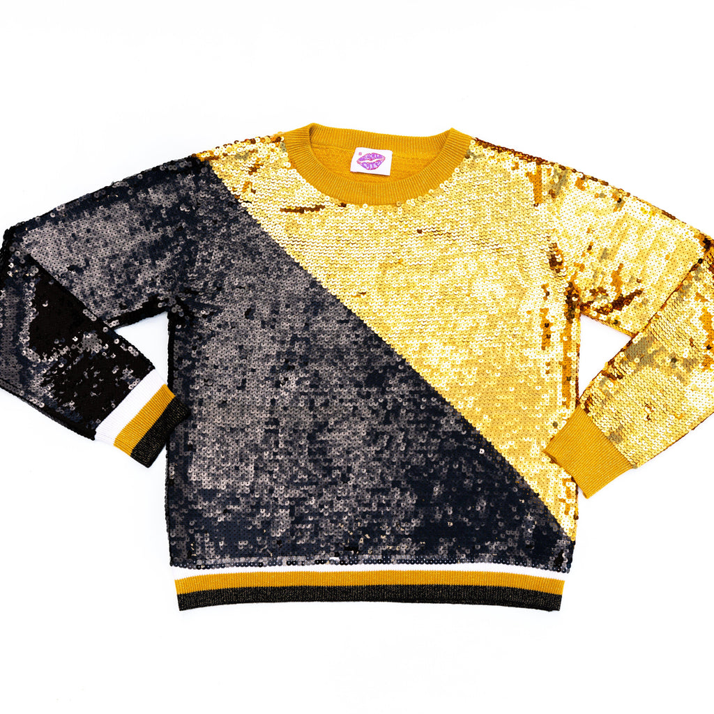 Black and Gold Sequin Sweater