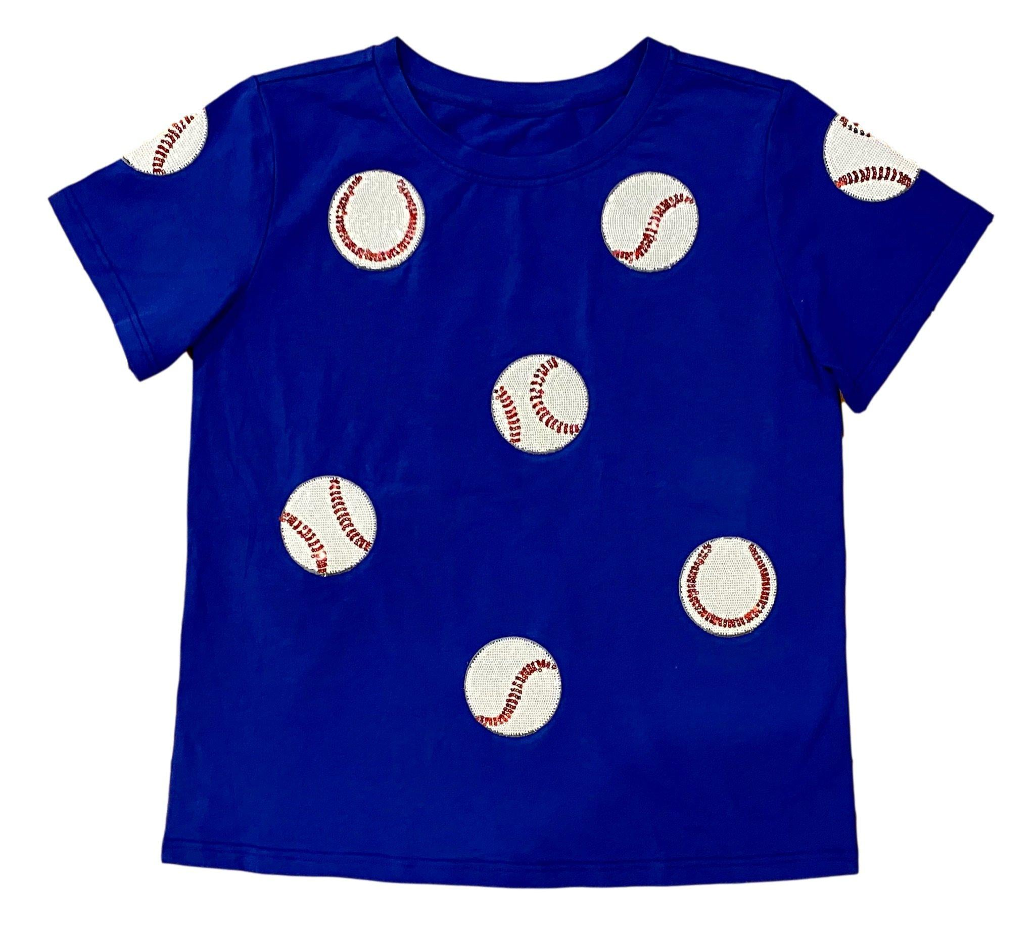 Fly Balls Blue Baseball Tee