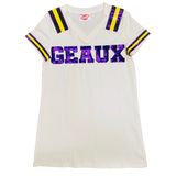 White GEAUX Jersey Dress