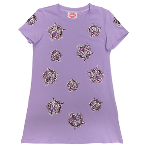 Tiger Takeover Short Sleeve Shift Dress Lavender
