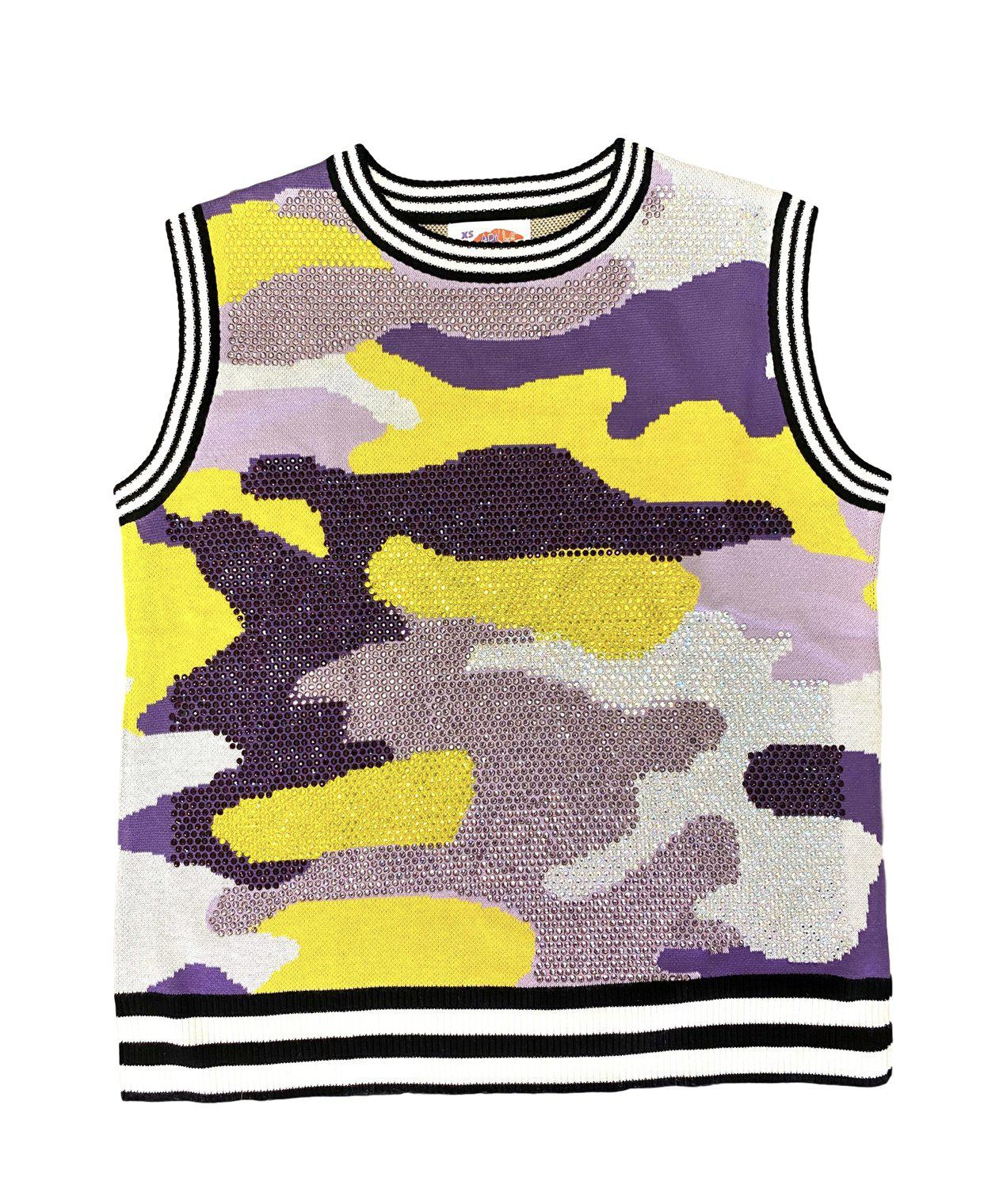 Purple and Gold Camouflage Rhinestone Tank