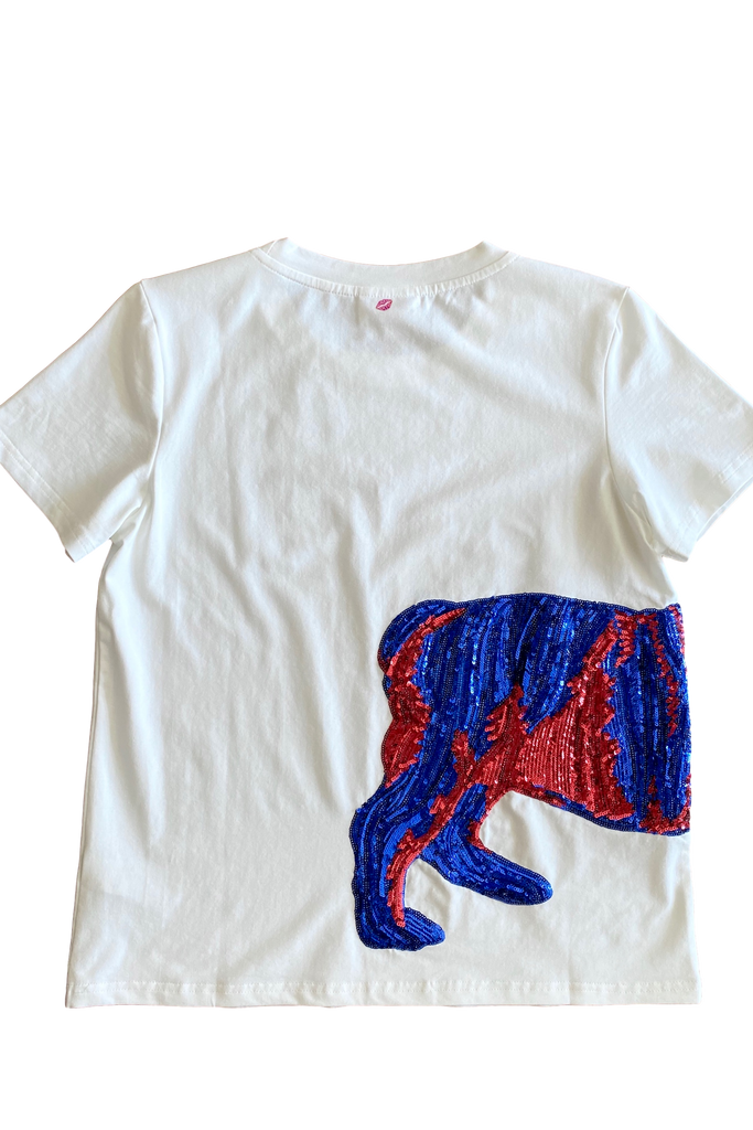 Wrap-Around Bulldog Tee Blue/Red