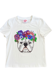 Flower Crown Bulldog Tee