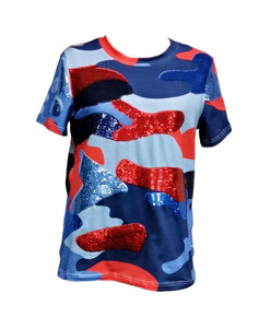 Glamo Camo Sequin Tee Red, Navy, Powder Blue