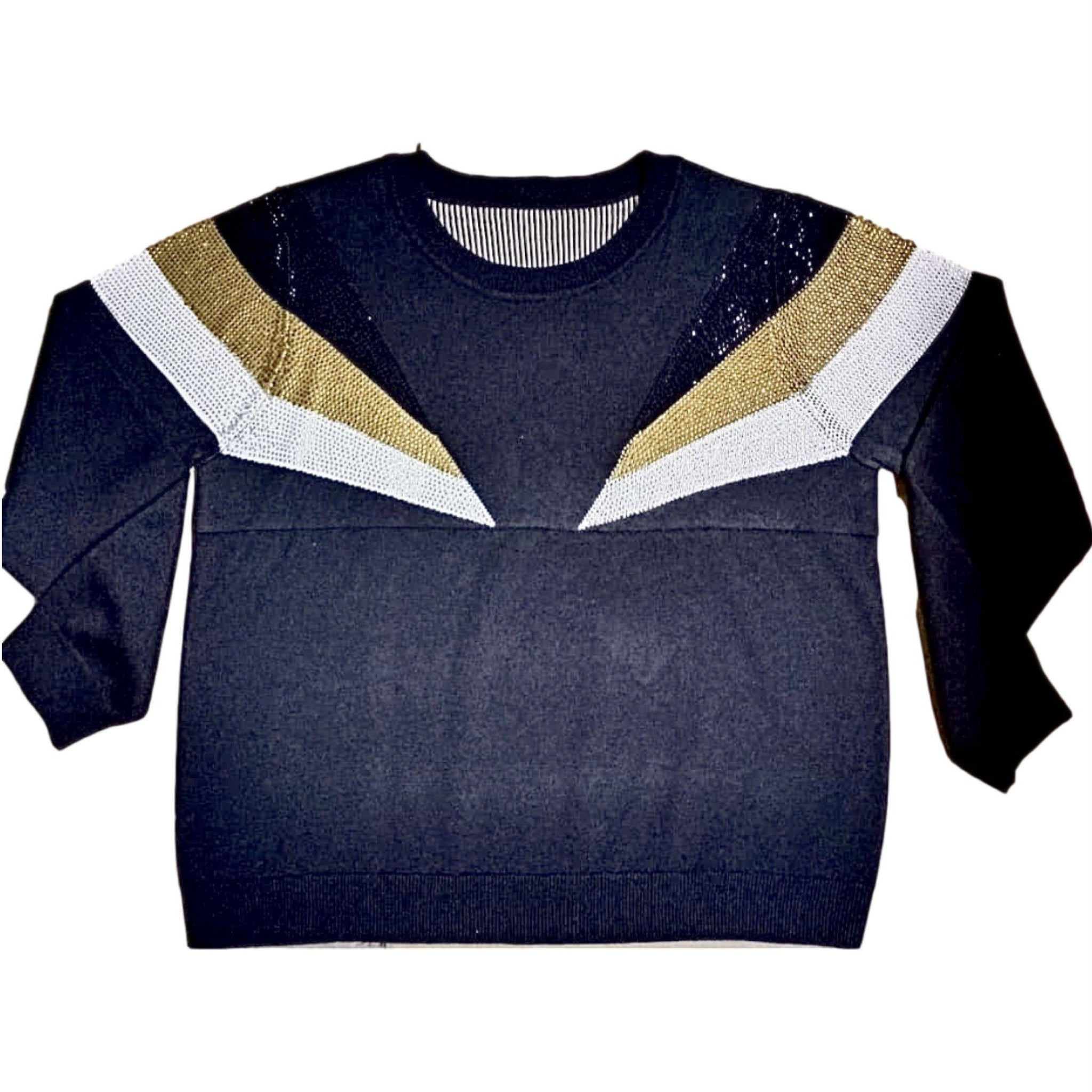 Black and Gold Shoulder Stripes Sweater