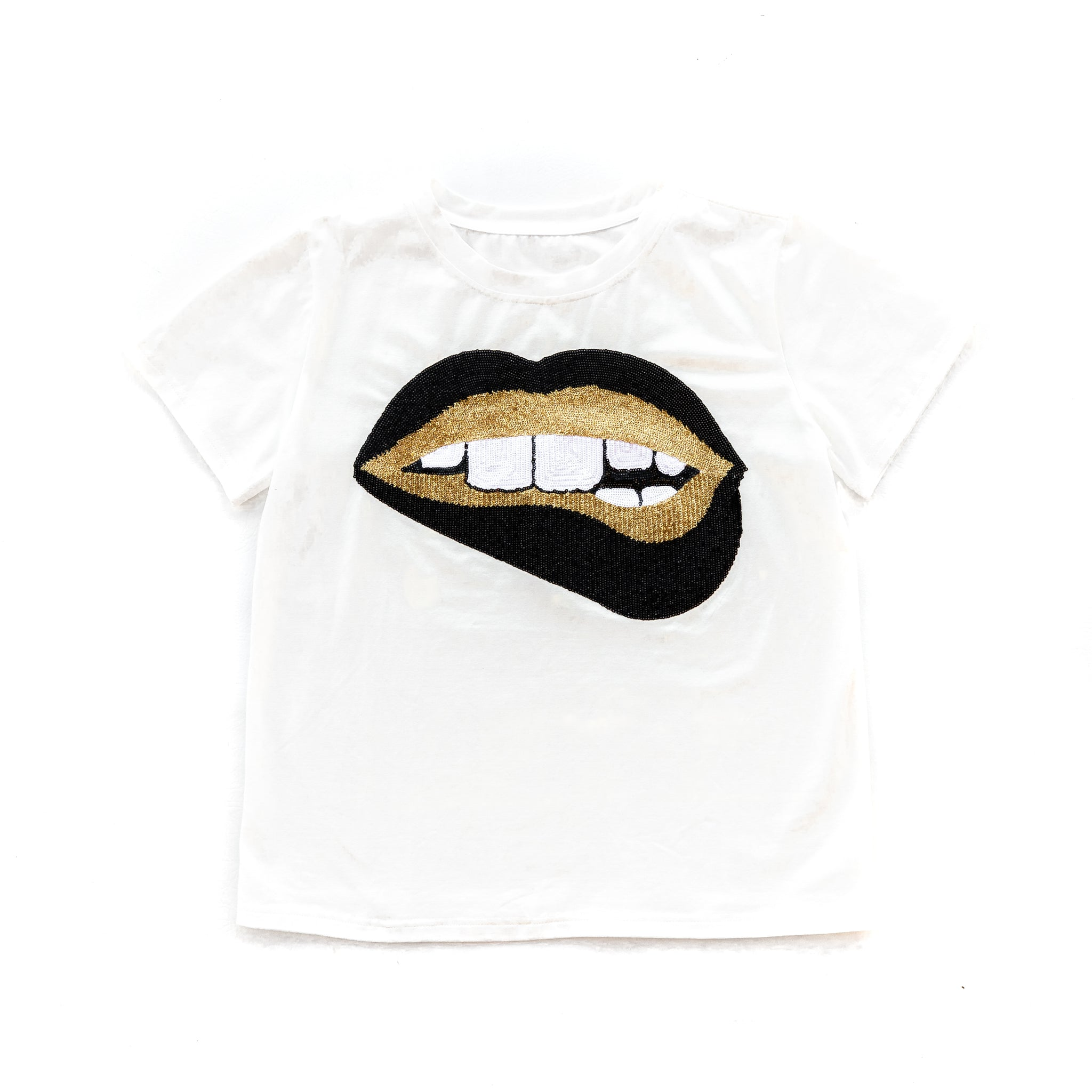 Gameday Grin Glitter Black & Gold Lips Tee