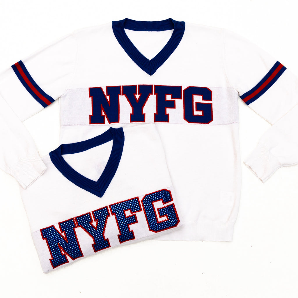 NYFG White Color Rush Jersey Sweater