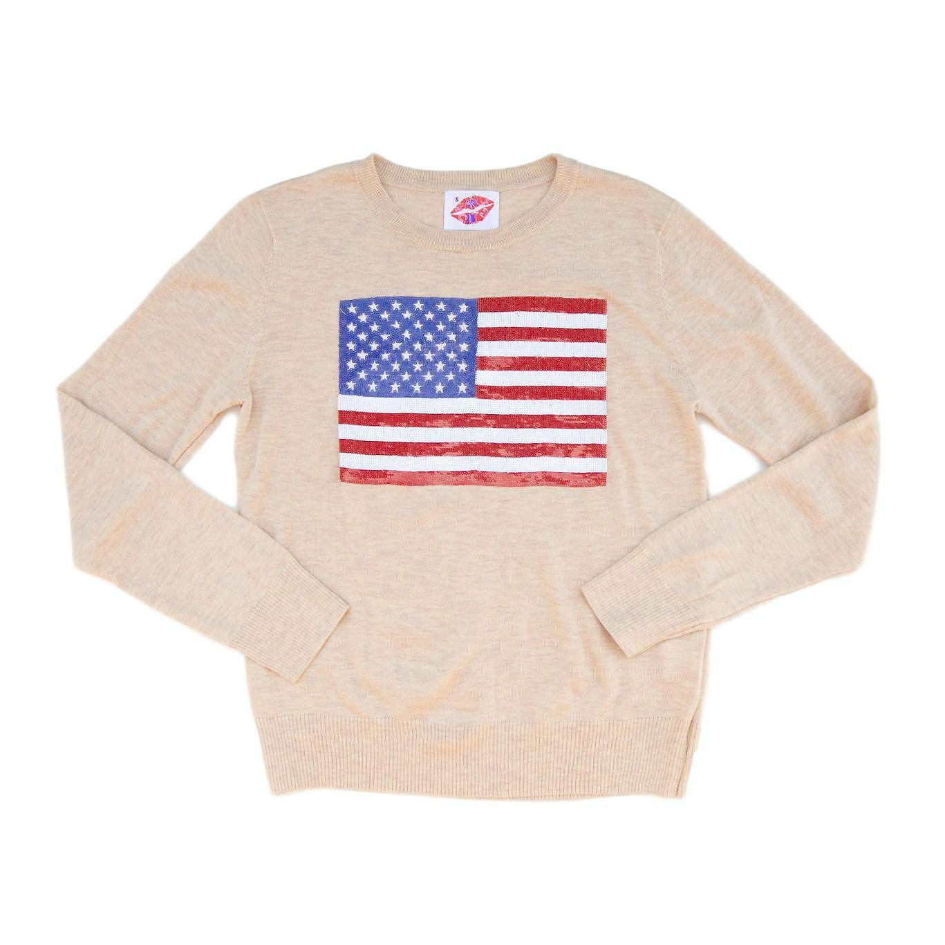 Fancy Flag USA Thin Knit Sweater Sand