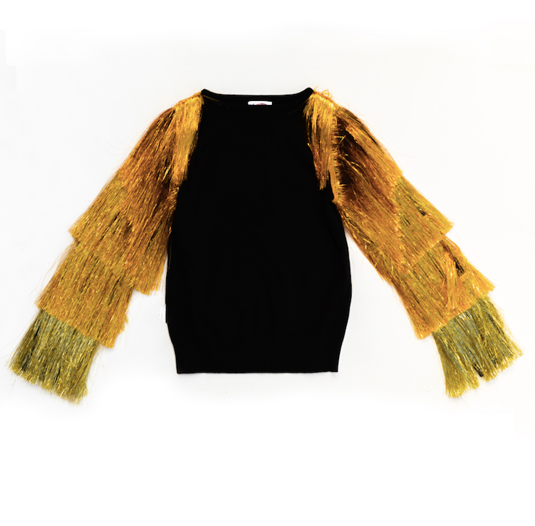 Tinsel Touchdown Tassel Sleeve Sweater Black
