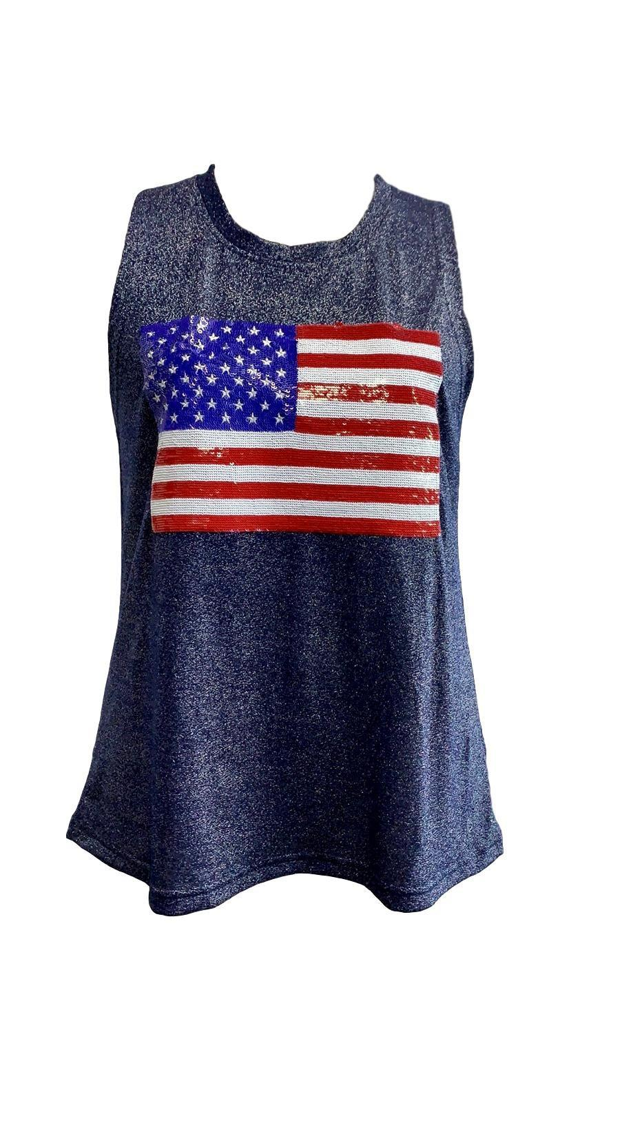 Fancy Flag Glitter Tank Navy