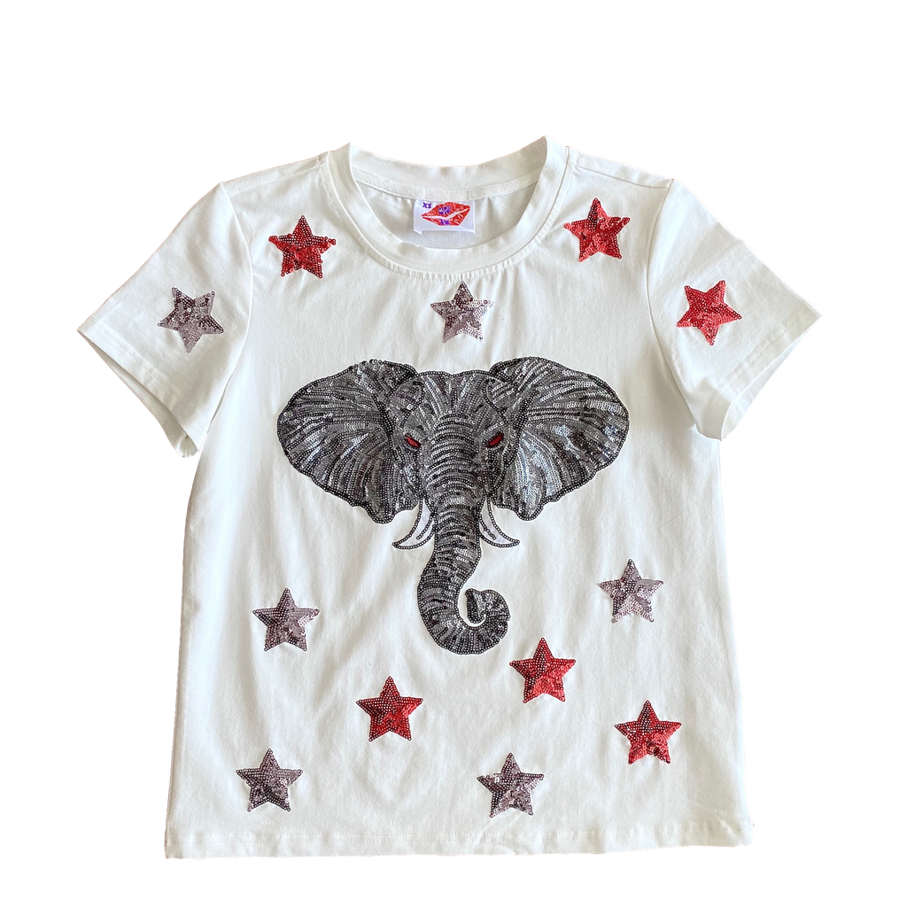 White Star Struck Elephant Head Tee