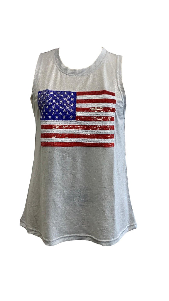 Fancy Flag Glitter Tank Silver