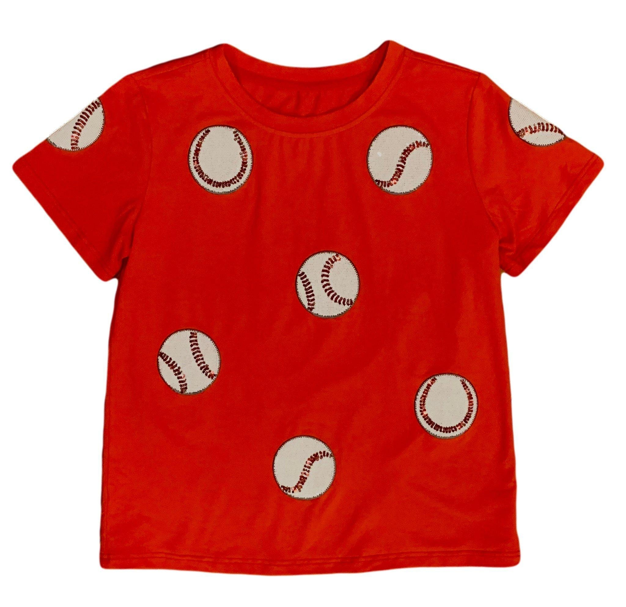 Fly Balls Red Baseball Tee