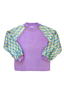 Sequin Sleeve Unicorn Sweater Lavender