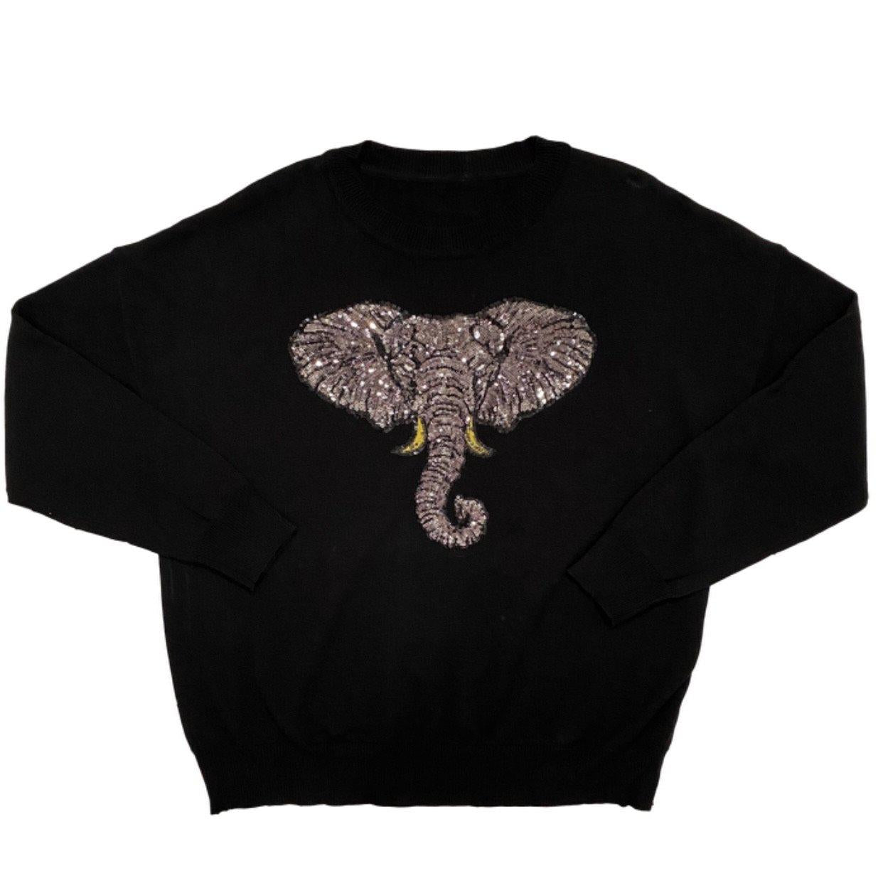 Black Oversized Elephant Sweater