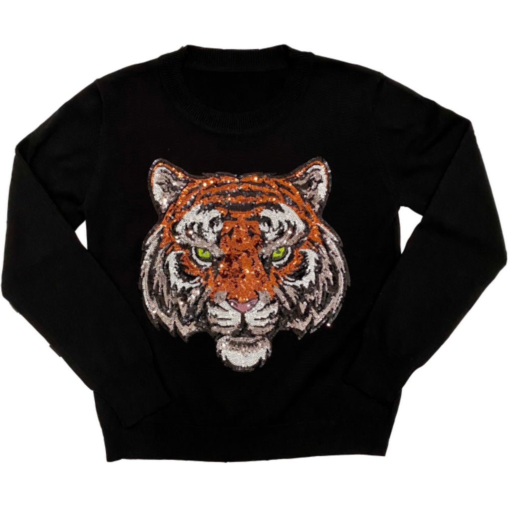 Black Tiger Head Sweater