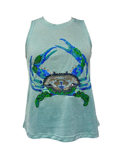 Bling Blue Crab Glitter Tank