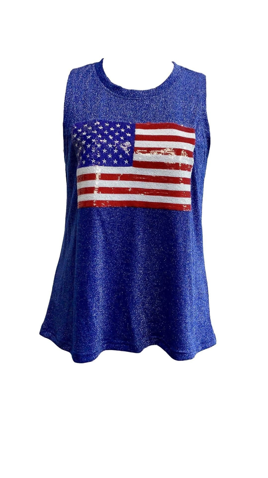 Fancy Flag Glitter Tank Royal