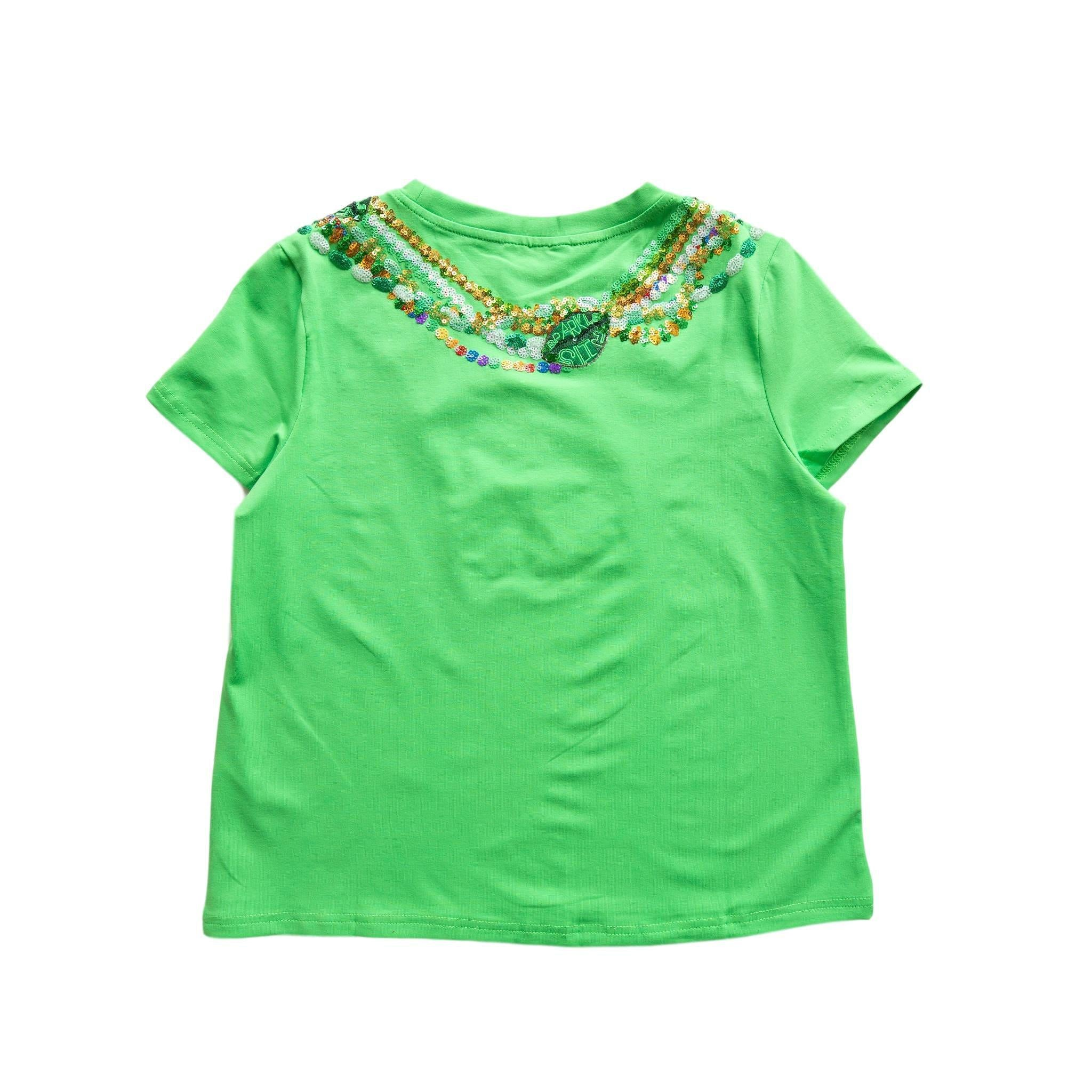 Kids Lucky Light Green Beads Tee