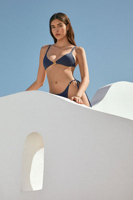 KIRA azurite blue | triangle bikini top with Sense Swim ® pendant
