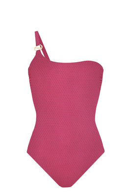 PUJA orchid pink | one-shoulder swimsuit with Sense Swim ® pendant