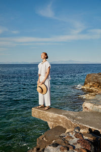 BELLA white | organic linen pants