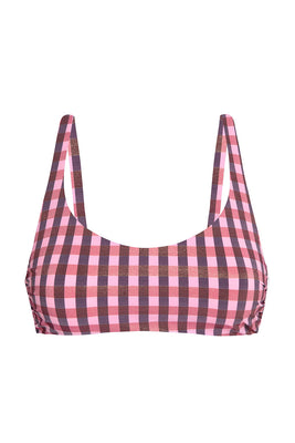 Uplift your spirit with SATAYA TOP. This simplistic design is essential for island getaways and barefoot adventures. The adjustable straps, lightweight boning and supple lining with no transparency come together in a wire-free style and a classic scoop neckline. The signature SENSE SWIM ® pendant the back while the shiny gingham fabric effect emboldens your senses.