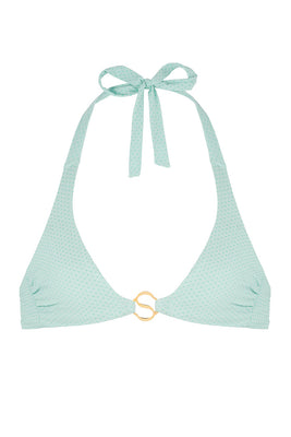 Learn the art of mindfulness in this delicate yet durable wire-free bralette bikini top. SATI ties at the neck and the back. Fully lined in a seamless design. Crafted in the signature eco-friendly textile with three dimensional and colour illusion properties this style fits like a second skin and is perfect when paired with our ASANA bottom. Accented in the centre front with our heat-resistant and waterproof Sense Swim ® pendant.