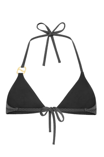Learn the art of mindfulness in this delicate yet durable wire-free triangle bikini top. SOIRE ties at the neck and the back and is fully lined in a seamless design. Crafted in sustainable textile with three-dimensional and colour illusion properties, this style fits like a second skin. Accented in the front with our heat-resistant and waterproof SENSE SWIM ® pendant.