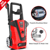 iRozce Pressure Washers 2610PSI 1.85GPM Max Electric Power Washer with Metal Adapter, Adjustable Nozzle, Build-in Detergent Tank for Driveway, Deck, Patio Furniture, Cars washing