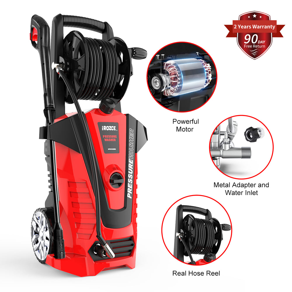 iRozce Pressure Washers, 3045PSI 2.2GPM Max Electric Power Washer with On-board Hose Reel,  Metal Adapter, Adjustable Nozzle, Build-in Detergent Tank for Driveway, Cars washing