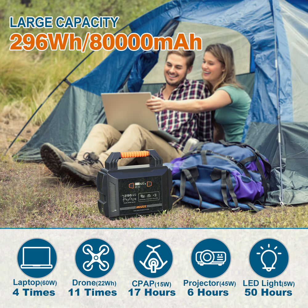 300W Solar Generator,  Portable Power Station for CPAP Camp Travel