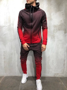 ZOGAA 2019 Brand New Men Tracksuit 2 Piece Set 3D Gradient Color Casual Hoodies Sweatshirt and Pants Sportswear Joggers Men Sets