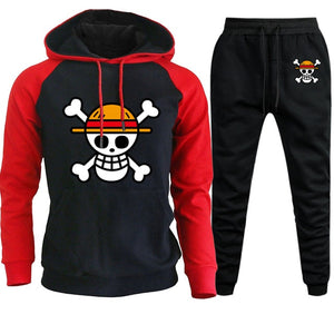 One Piece Anime Mens Sets Hoodies Pants Skull Luffy Hoody Sweatshirt Pant 2019 Autumn Winter Casual 2 Pieces Sweatpants Hoodie