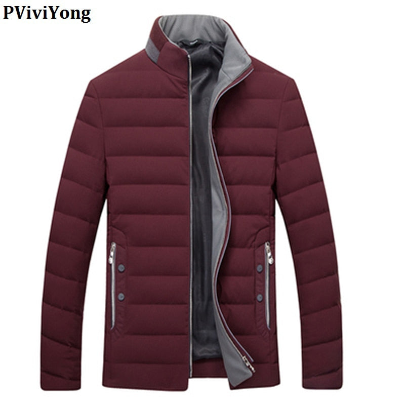 PViviYong 2019 Winter high quality 80% white duck down jacket men, mandarin Collar brief paragraph slim Coat men 1712