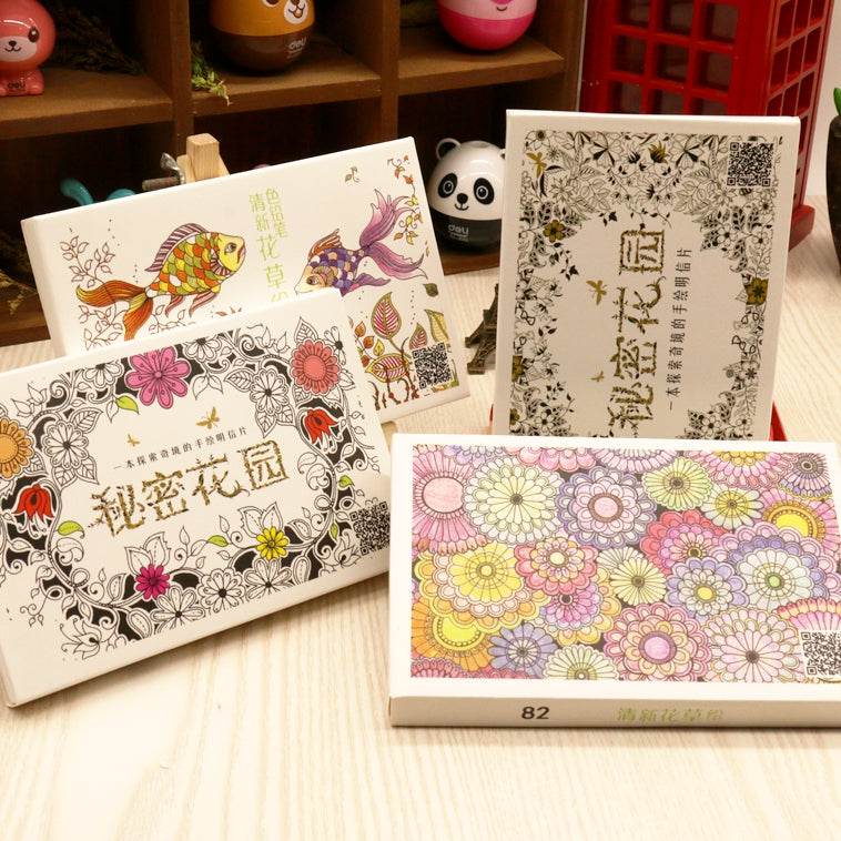Secret Garden 30 Sheets Coloring Card Tintage Postcards DIY Painting Drawing Book Colouring Books
