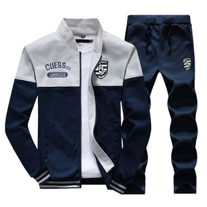 Riinr New Casual Tracksuit Men Autumn Zipper Jackets+Pants 2 Pieces Sets Male Slim Fit Sportswear Brand Fashion Men's Solid Set