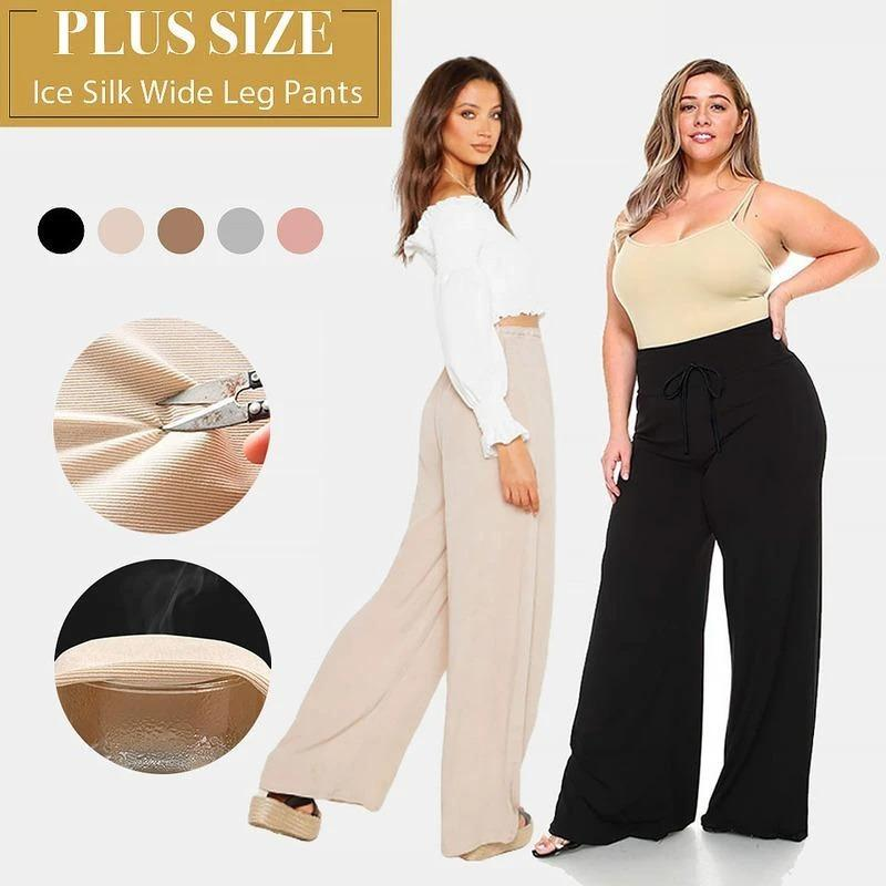 Plus Size Ice Silk Wide Leg High Waisted Women's Pants [Limited time offer: Pay 2 Get 3]